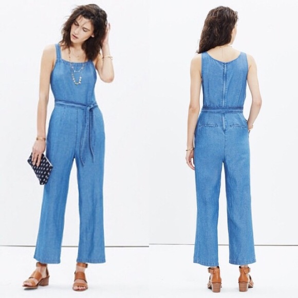 ca343068903 Madewell Pants - Madewell Muralist Crop Chambray Jumpsuit Size 12